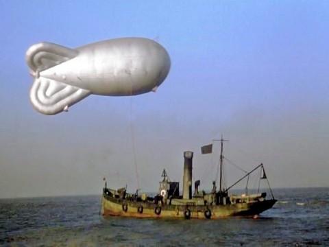 A Mk VI low zone (LZ) trawler-based barrage balloon