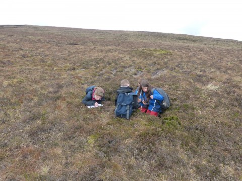 Pupils of Papdale Primary School recording their discovery of one of the defensive fighting positions on the geocache orienteering trail.