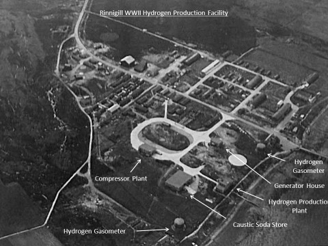 Rinnigill Hydrogen Production Facility. Aerial photo from The National Archives, ref. ADM116/5790
