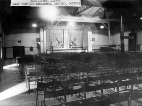The 900 seat cinema and performance space at Lyness, part of the RN Recreation Centre © The National Archives, ref. ADM116/5790