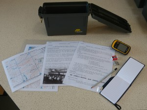 An IoHDT Wartime Heritage Geocache Trail box & contents