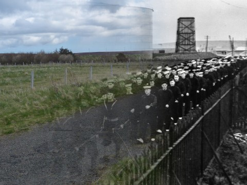 WWII Hoy Then & Now - Royal Oak survivors marching up Canteen Road, Lyness