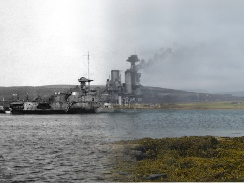 WWII Hoy Then & Now - HMS Iron Duke in Longhope
