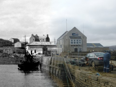 WWII Hoy Then & Now - Longhope Pier