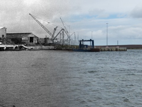 WWII Hoy Then & Now - Lyness Pier