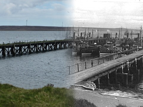 WWII Hoy Then & Now - North Pier, Lyness