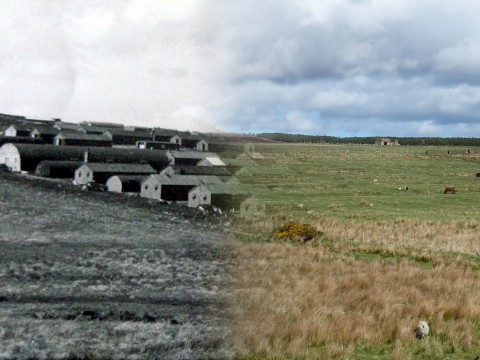WWII Hoy Then & Now - Royal Marine Camp, Lyness