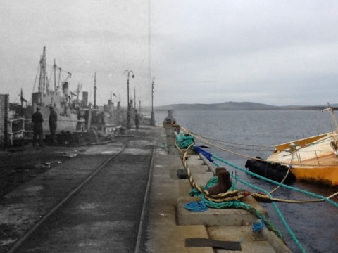 WWII Hoy Then & Now - The Golden Wharf, Lyness